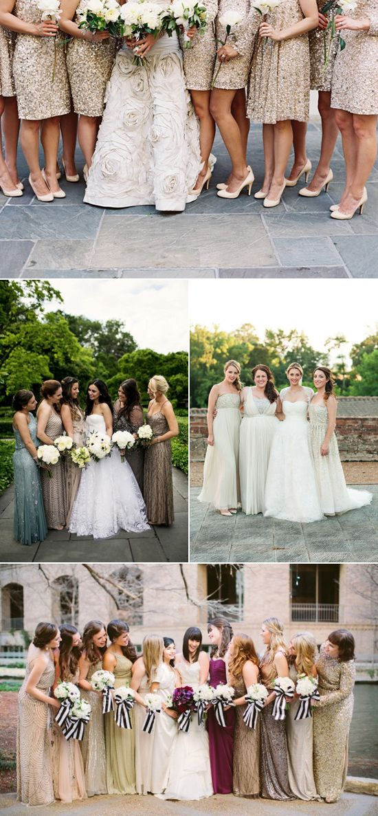 Sparkly Bridesmaid Gowns