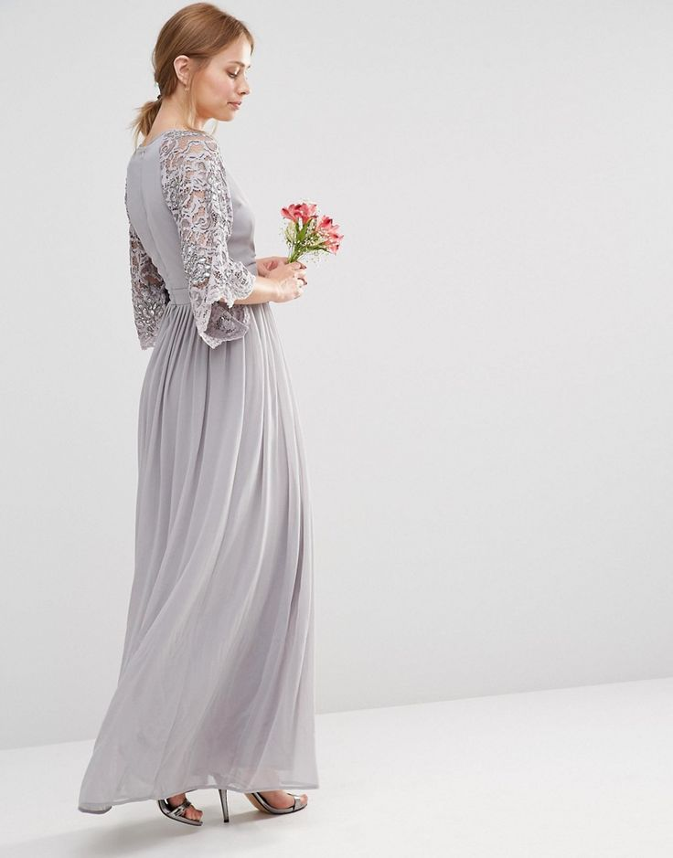 Maya Wrap Front Pleated Maxi Dress With Lace Sleeve - Gray