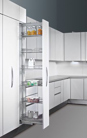 Pull Out Pantry. Whether you are limited to space or not, this type of pantry allows you to find items in your pantry with ease.