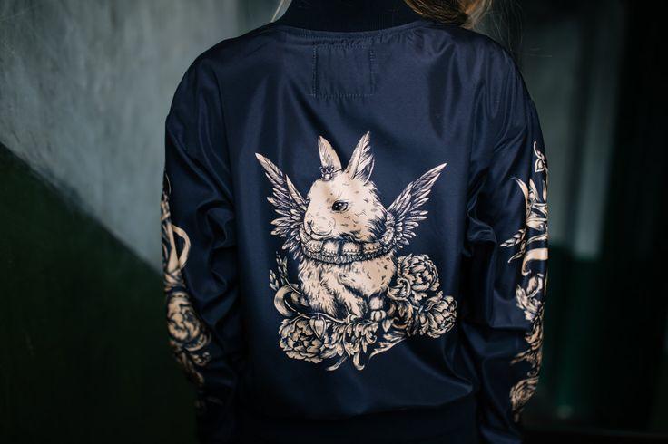 Black Bomber Jacket, Tattoo Style Bomber Jacket, Zip Front Jacket, Jacket with Motif Back,Fairytale motifs, Art Printed Satin Jacket, Unisex by LikeShop2U on Etsy