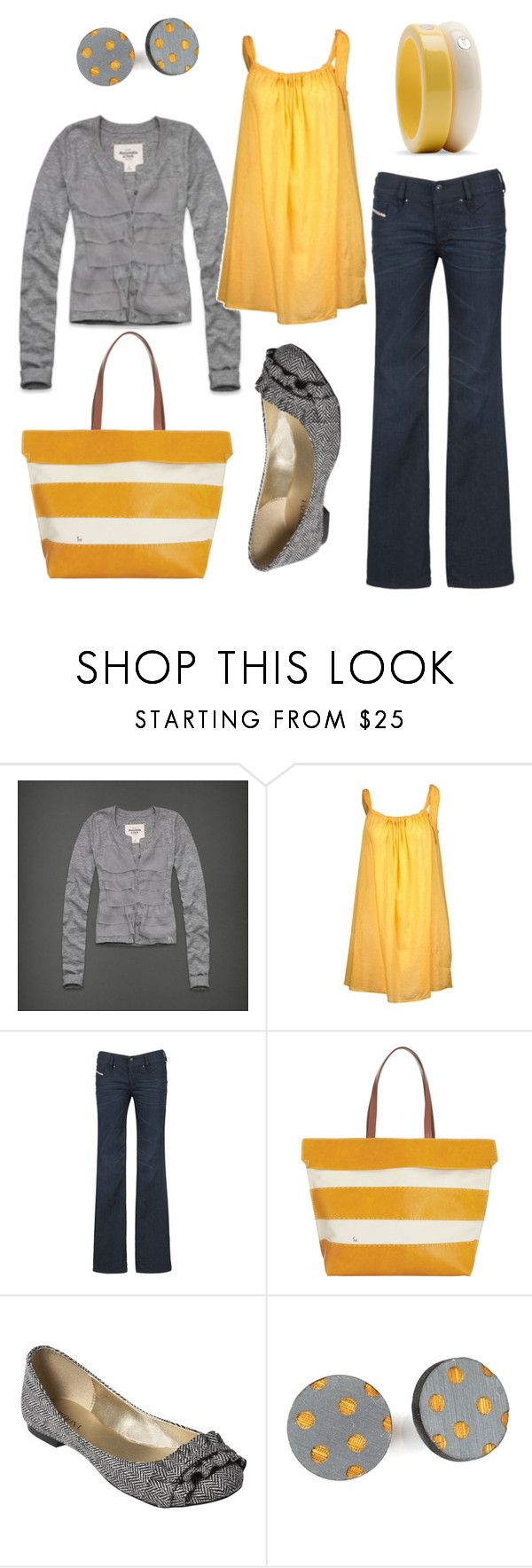 """sunshine on my shoulders"" by htotheb ❤ liked on Polyvore featuring Abercrombie & Fitch, Rasurel, Diesel, Henry Cuir, Uncommonly Beautiful, MANGO, polka dots, white, grey and yellow"