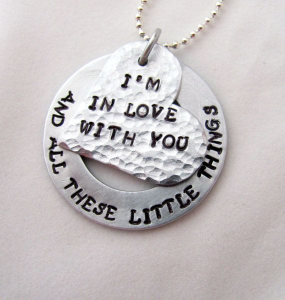 Hand Stamped One Direction Necklace, I'm In Love With You And All These Little Things, Heart and Washer on Etsy, $23.50