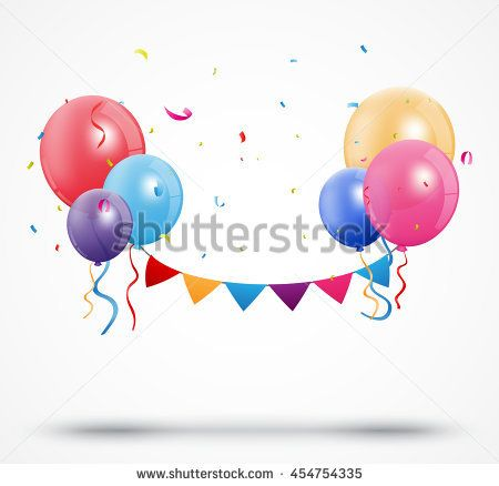 Balloon with confetti and birthday bunting flags