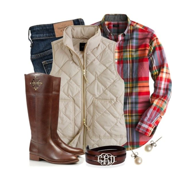 flannel plaid shirt, cream puff vest, dark jeans, brown boots - fall / winter