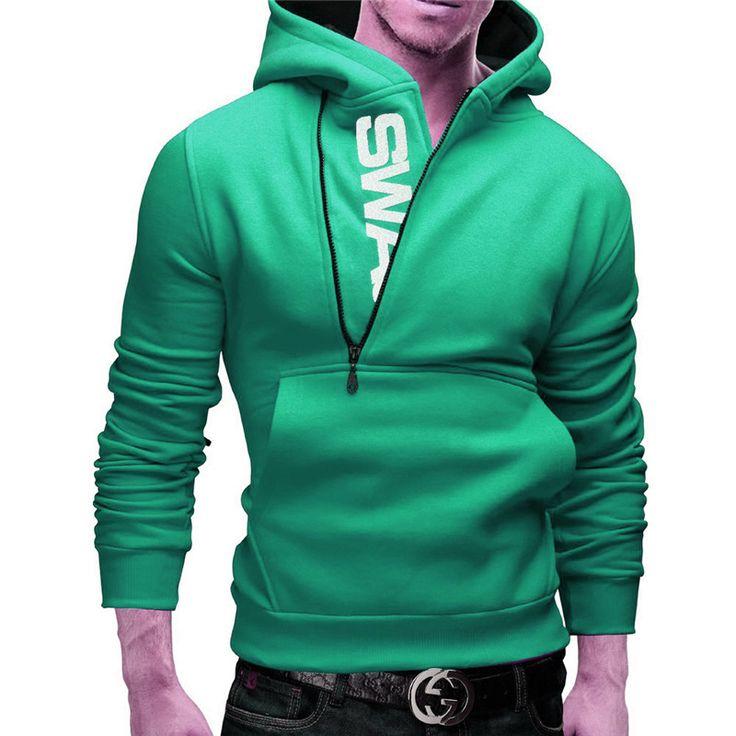 Autumn Turtleneck Men's Sportswear Clothing Side Zipper Hooded Coat Men Hip Hop Sweatshirt Swag Brand Polerones Hombre Plus Size