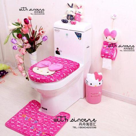Respetuoso del medio ambiente Lindo Hello Kitty Baño Esteras Moderna Cubierta De Papel Higiénico Titular(China (Mainland))
