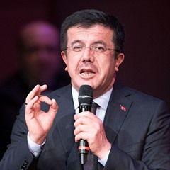 Turkey's Economy Minister Zeybekci delivers a speech in Germany