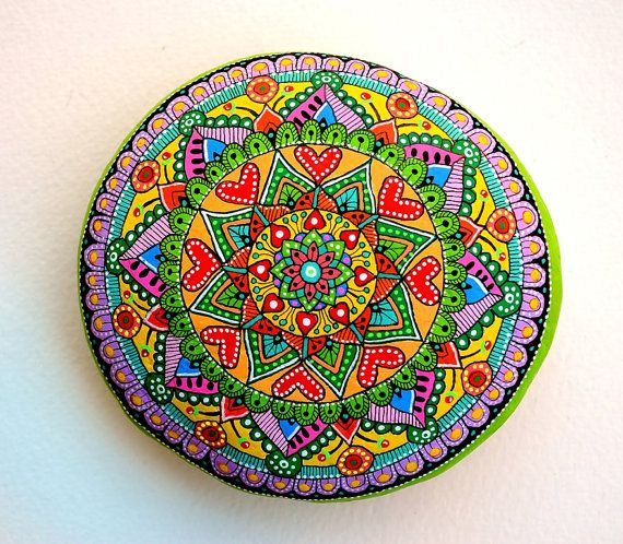 Hand Painted Stone (Adriatic Sea) Mandala