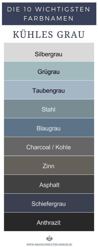 Kühle Grautöne sind Silbergrau, Graugrün, Taube…