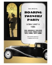 Roaring 20s party invitations www.tablescapesbydesign.com https://www.facebook.com/pages/Tablescapes-By-Design/129811416695