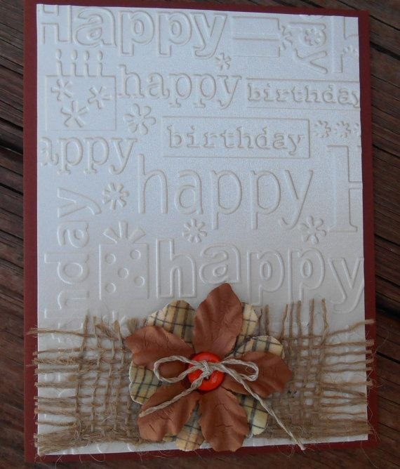 Handmade Card Birthday Embossed Pearlized by COUNTRYGIRLSCOTTAGE, $3.25