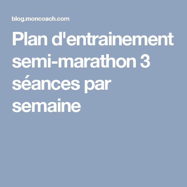 Plan d'entrainement semi-marathon 3 séances par semaine