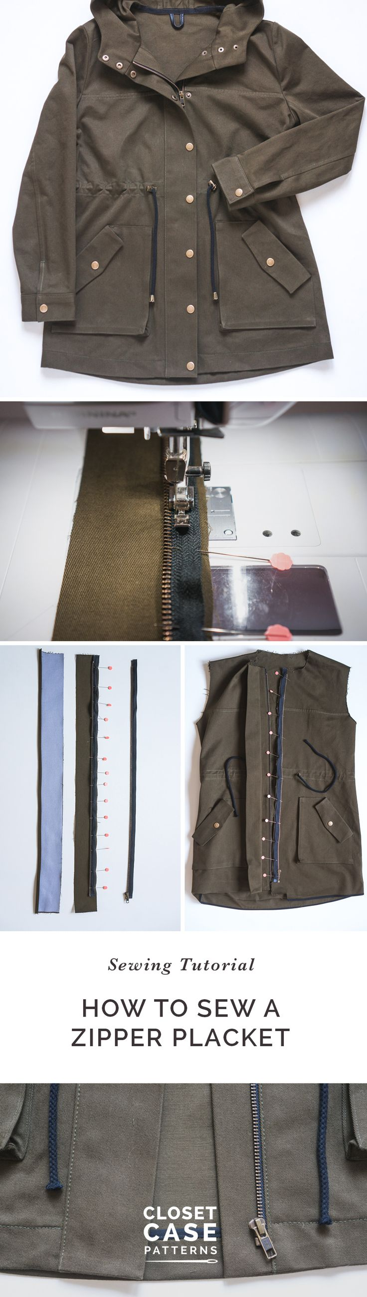 Learn how to sew a zipper placket with our in-depth step by step sewing tutorial! // Kelly Anorak Sewalong // Closet Case Patterns https://closetcasepatterns.com/sewalong/sewing-zipper-placket-kelly-anorak-sewalong/