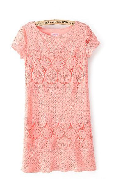 So Cute! Pink Short Sleeves O-neck Hollow-out Shift Lace Dress #Pink #Summer #Fashion