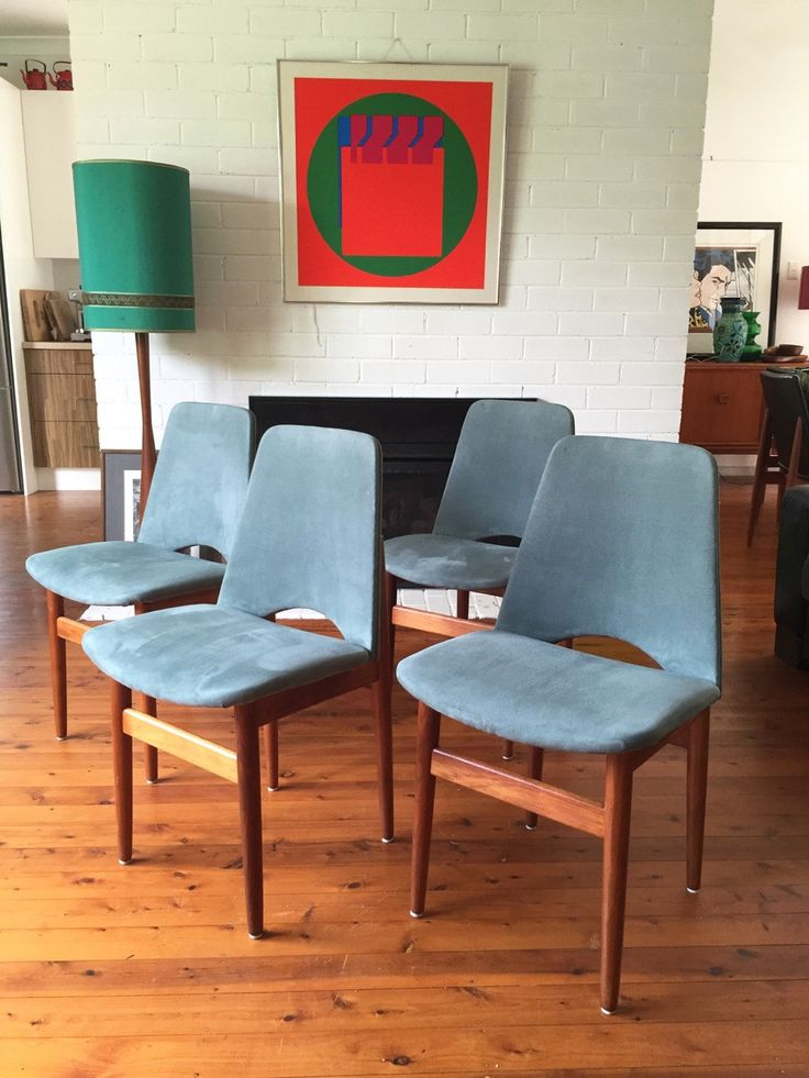 Teal Suede Parker style dining chairs Sets Of Four Mid Century Decor by TriBecasVintage on Etsy