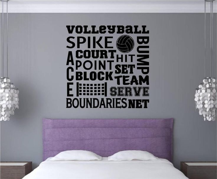 details about volleyball vinyl decal wall stickers words letters sports teen room decor - Volleyball Bedroom Decor