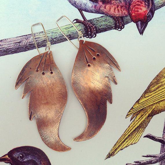 the dragon bird - earrings with heat treated copper, dangle, modern, golden.