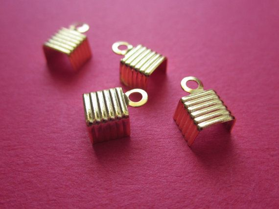 6mm Textured Crimp Head  Gold Plated http://etsy.me/1DEmtIQ #jewelry #mount #brass #jewel #gem #bezel #setting #goldplated #gold #24k