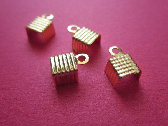 6mm Textured Crimp Head  Gold Plated http://etsy.me/1DEmtIQ #jewelry #mount #brass #jewel #gem #bezel #setting #goldplated #gold #24k