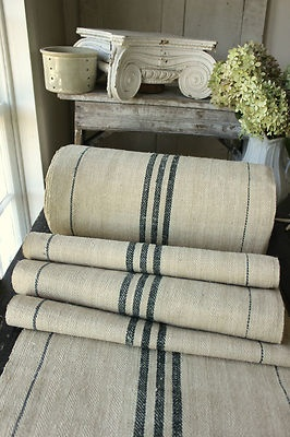 Antique Vintage STAIR RUNNER HEMP fabric ~ LOVELY Green stripes ~ homespun 1yd - 5th village