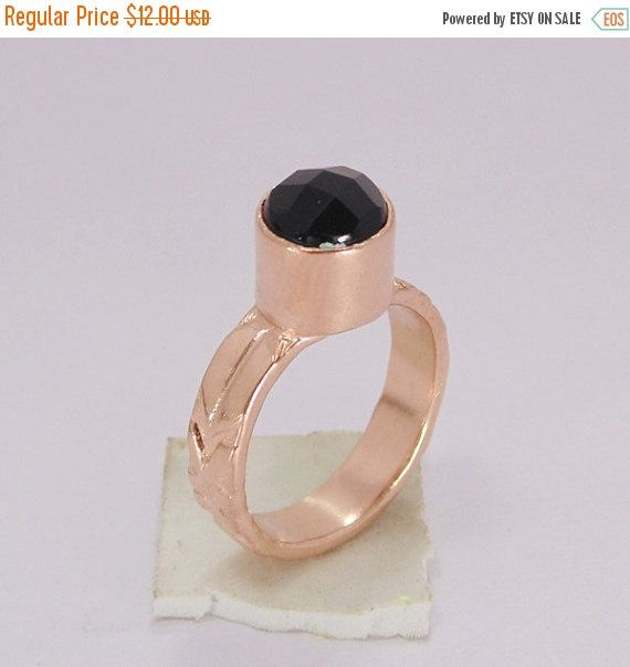 Black Onyx Ring - Handmade Brass Ring - Rose Gold Ring - Fashion Ring - Artisan Crafted Ring - Round Gemstone Ring - Gift For Her #blackonyx #sale #artisan #small #tiny #birthstone #naturalstone #faceted #rosegold #highquality #amazing #cheap #price
