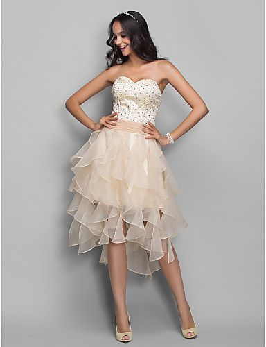 A-line Princess Sweetheart Asymmetrical Stretch Satin And Organza Cocktail/Prom Dress (682708) - USD $ 88.49