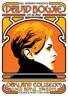 david bowie music gig posters | DAVID BOWIE - Oakland - 5 April 1978 - artistic concert poster retro ...