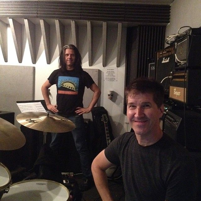 Me & Chad Wackerman rehearsing (for project w Jane Getter/Adam Holzman) pic by @bryanbeller). Held back from geeking out & bringing my Zappa/Holdsworth CDs.