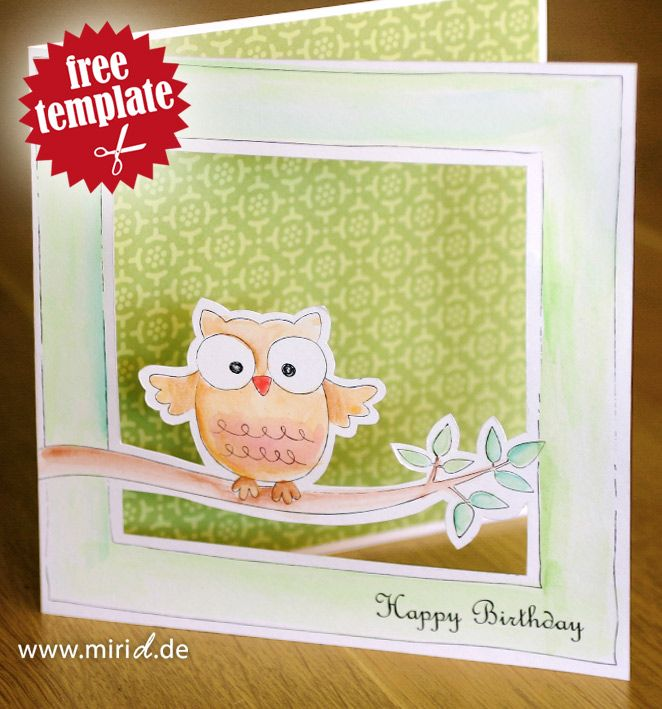 Free template: An owl card. You can even add your own text! Cool thing!