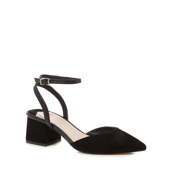 black pointed mid block heel shoes