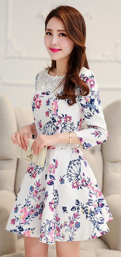 Stylish spring flower printed dress with round lace neck YRB0744