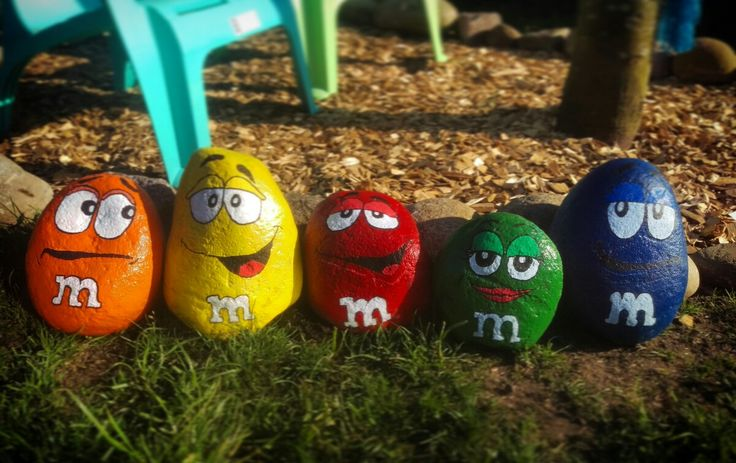 DIY M&Ms stones. Making people smile on our street