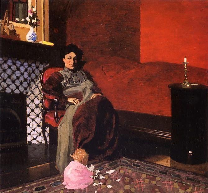 """Félix VALLOTTON 1865-1925 - """"Madame Vallotton et sa nièce Germaine Aghion"""" ou """"Intérieur, chambre rouge avec femme et petit enfant"""" - Huile sur carton 49 cm x 51 cm - Peint en 1899 - Localisation:Chicago, The Art Institute"""