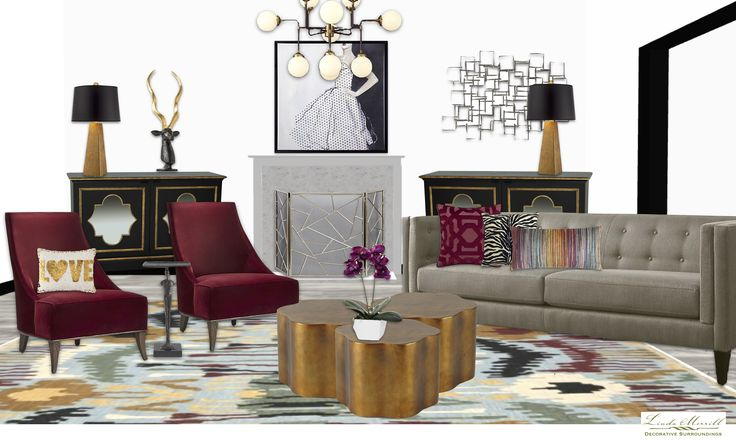 A chic salon-style formal living room for a virtual design client. Design and rendering by Linda Merrill. #virtual #design #edecor #edesign #salon #chic #living #room #white #black #dark #red #neutral #sofa #brass #art #subway #chandelier