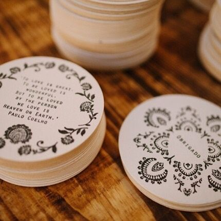 Hand stamped beer mats at a beautiful Portuguese wedding. We transformed the pattern from their bespoke wedding stationery into a stamp and each of their guests received a stamped coaster plus a bespoke patterned stubby cooler.  Photo by the fab @brancoprata www.lucysaysido.com