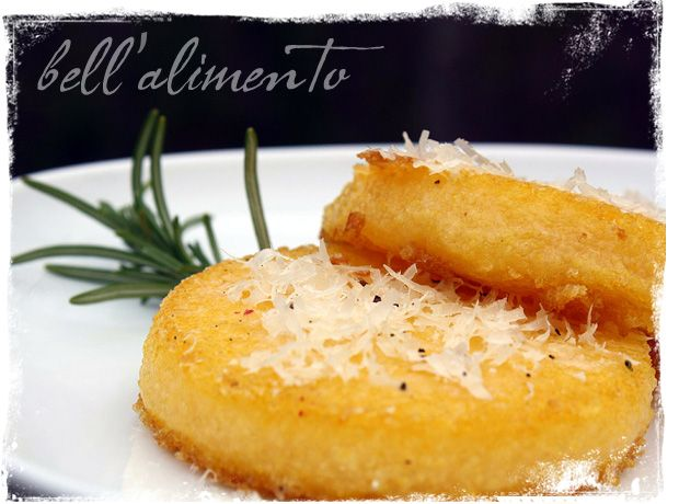 Polenta- A little crunchy on the outside & creamy on the side. This sounds soooo good!