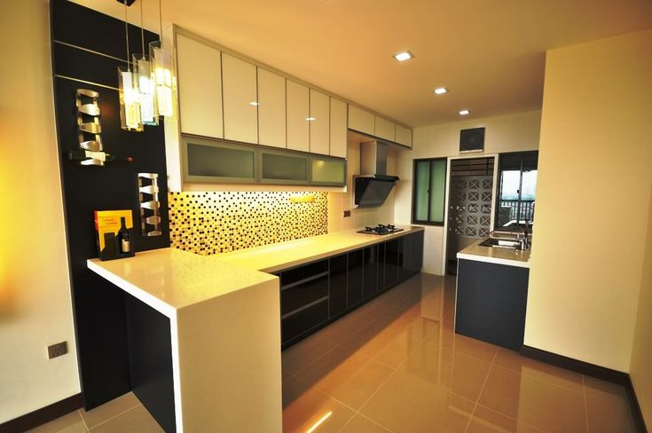 Above Pictures Is A Small L Shaped Black White Kitchen Cabinet The Contrast Color Of This