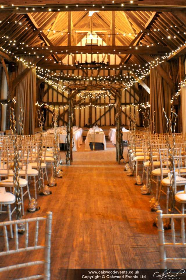 barn wedding venue london%0A Fairy light zig zag canopy in the lovely barn at the Olde Bell in Hurley for