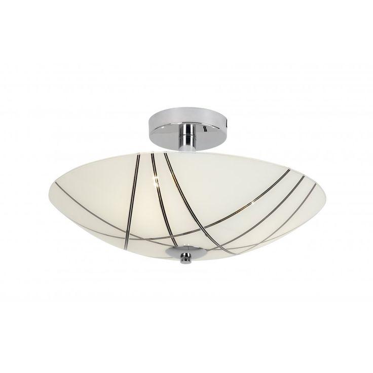 Endon CROSBY-3FCH 3 Light Semi Flushed Ceiling Light Polished Chrome