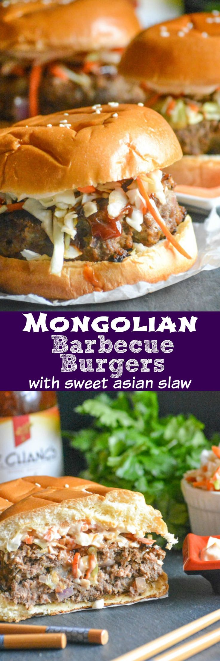 Love a good burger for a hearty lunch or dinner? Infuse yours with authentic Asian flavor with these easy Mongolian Barbecue Burgers with Asian Slaw. Thick, juicy Mongolian flavored burgers topped with an Asian style slaw are sandwiched between buttery brioche buns, and ready for you to tuck right into. #AuthenticMadeEasy @walmart #ad