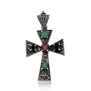 Retro collection. Vintage cross in sterling silver, ruby, emeralds and marcasite. Tax free. Special price $48.90