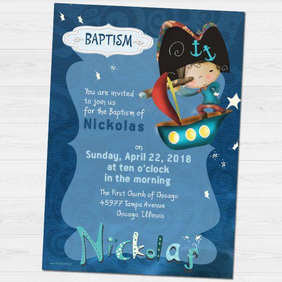 Nickolas  Baptism invitation by babyartshop on Etsy