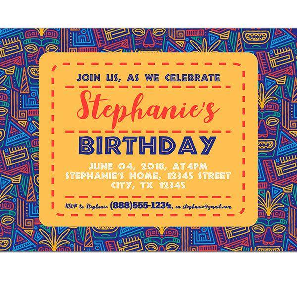 Hawaiian Tiki Masks Pattern Blue Birthday Party Invitations - PAPER BLAST