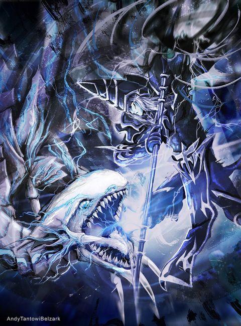 遊戯王のブルーアイズ・ホワイト・ドラゴとブラック・マジシャンとブラック  あなたが好きなら私のInstagramに従ってください。 instagram.com/andytantowibelzar