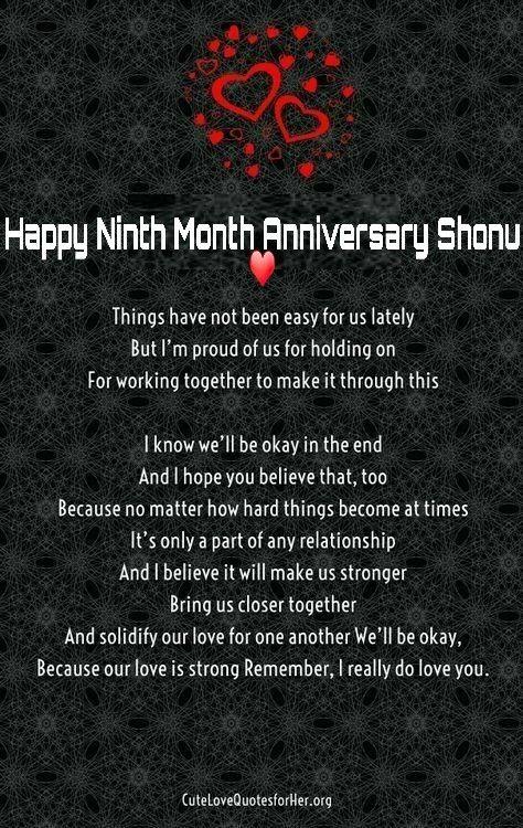 9th Month Anniversary Happy 9 months anniversary, 9