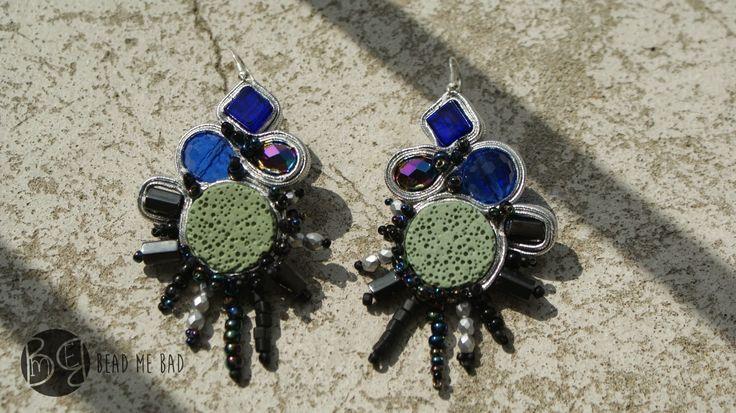 Blue Bettle soutache earrings  Visit my blog: http://beadmebad.blogspot.com/2014/08/blue-beetle-soutache.html
