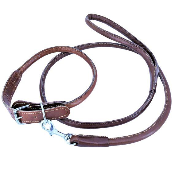 Genuine Leather 1 2 Width Round Circle Rolled Dog Collar With