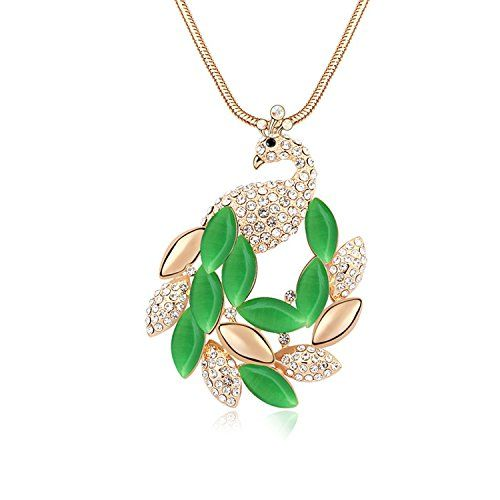 Parati(TM) Fashion Jewelry Peacock Cat's Eye Austrian Crystal Charm Pendant Necklace For Women Girls, Christmas Romantic Valentine Gift, Jade Green Parati:
