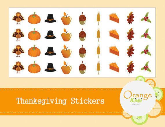 Thanksgiving Stickers  Thanksgiving Planner by OrangeKiwiDesign