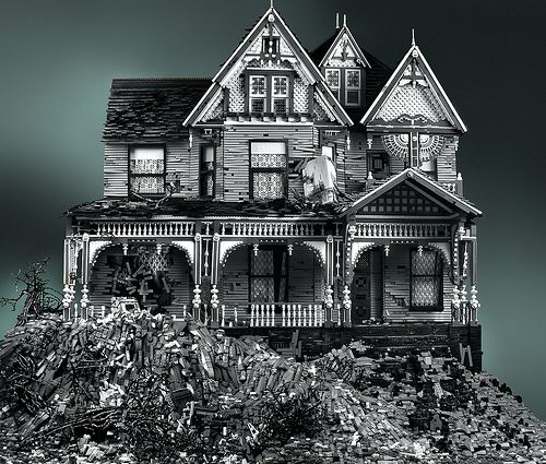 Victorian House, Hauntedhouse, Haunted Houses, Art, Lego Creations, Black White, Abandoned Houses, Mike Doyle, Lego House
